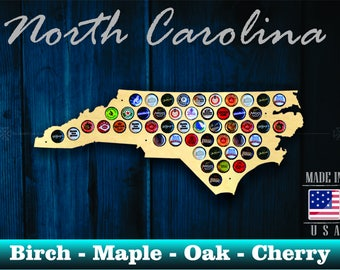 North Carolina Beer Cap Map NC - Beer Cap Holder Beer Cap Display Gift for Him Wedding Gift Fathers Day Unique Christmas Gift