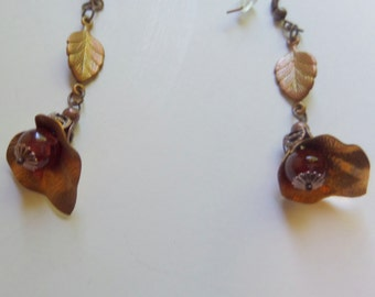 Picasso Jasper Earrings with Vintage Brass Calla Lily Stampings