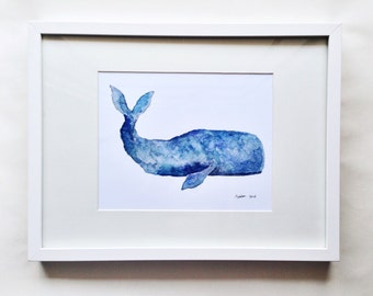 Seymour the Sperm Whale Watercolor 8x10 Print