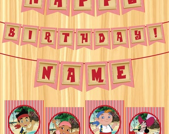 INSTANT DOWNLOAD - EDITABLE Jake & the Neverland Pirates Party Banner