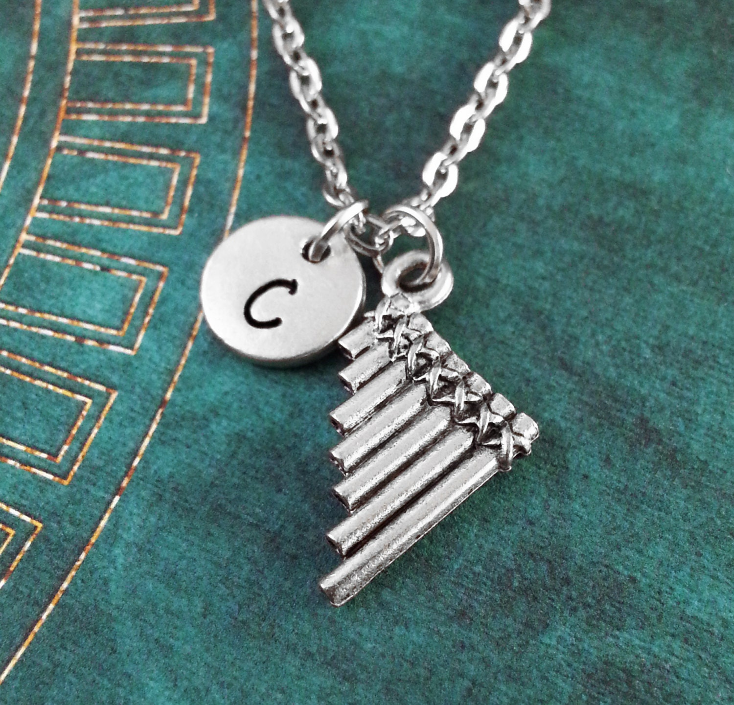 Pan Flute Necklace SMALL Pan Flute Charm Musician Gift
