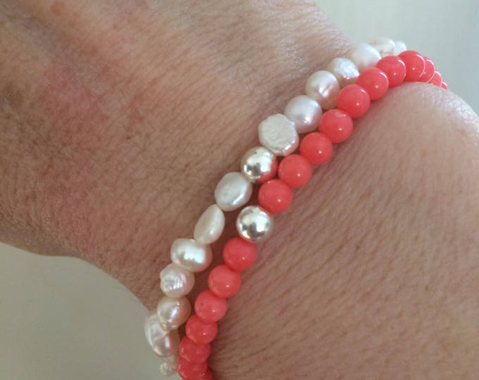 Pink Coral stretch Bracelet with Sterling Silver bead or 14K Gold Fill bead