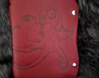 Amiable Octopus Leather Journal / Sketchbook / Notebook