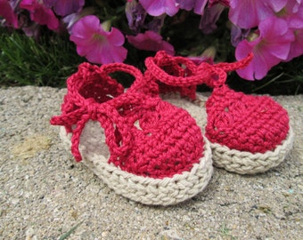 Baby Espadrille Sandals red cotton booties