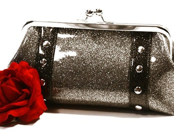 Silver Sparkle Vinyl Clutch with Your Choice of Trim - MADE TO ORDER