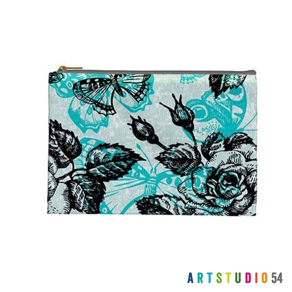 "Butterfly Flower Rose Teal Black White Pattern on a Pouch, Make Up, Cosmetic Case, Travel Bag Pencil - 9""X6"" -  Large -  Made by artstudio54"