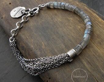 labradorite or sapphire modern bracelet - sterling silver multi chain bracelet