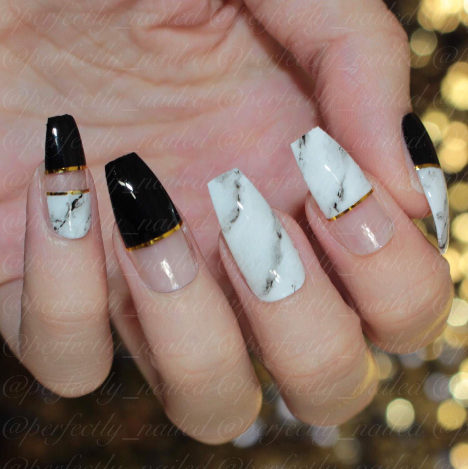 Black and marble gel nails with negative space •Handpainted False ...