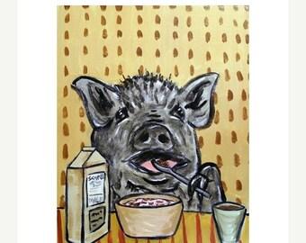 25% off Pot Belly Pig Eating Cereal Art Print
