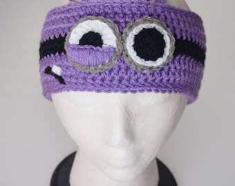 Minion Headband, earwarmer, Despicable Me, Purple, Crochet By Allie
