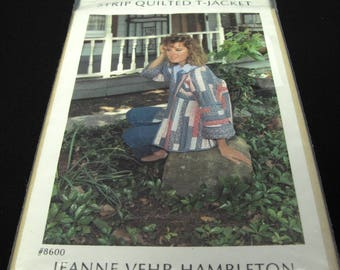 Vintage Strip Quilted Jacket Pattern Uncut Jeanne Vehr Hambleton Country Quilting Sewing Large
