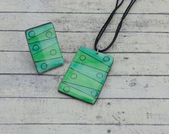Mint green jewelry set, Turquoise pendant necklace, Mint green statement ring, Contemporary jewelry, Geometric pendant, Gift for best friend