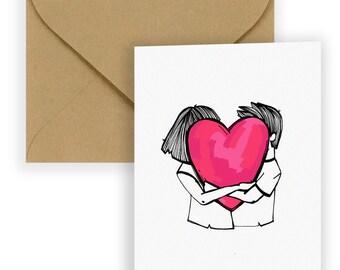 Heart Lover Huggers - Greeting Card | Couple Love Card | LGBTQ Love | Love Wins | Stationary | Custom Card | Lovers Card | Valentines Day