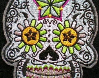 Embroidered Sugar Skull Iron On Applique Patch, Day of the Dead, Dia de los Muertos, Biker Patch, Gothic Skull, Mexico, Mexican