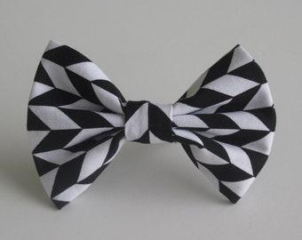 Black and White Herringbone Bow Tie