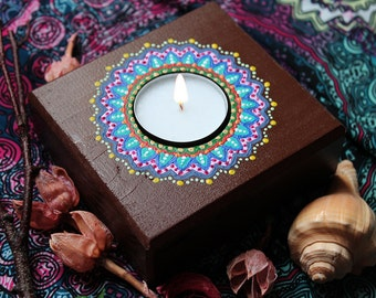 Wooden Candle Holder For One Candle - Handmade Tea Light Holder, Colorful Hand Painted Mandala Design, Boho Gypsy Home Decor