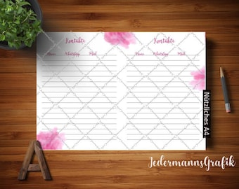 Contact List-Filofax A5 Insert Insert template-Instant download