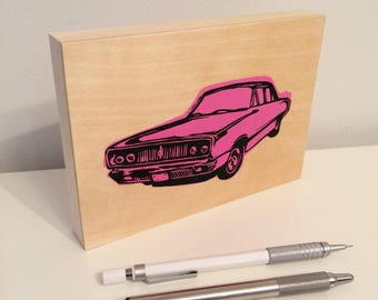 Classic Car Block Print on Wood Panel - Fuschia (Pink)