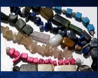 Mixed Stone - Assortment of stone beads. #MIX-054