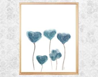 Blue Gray Art, Watercolor Flowers, Blue Gray Decor, Teal Blue Art, Blue Gray Wall Decor, Watercolor Painting, Blue Gray Print, Flower Art