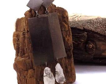 Black plated earring,crystal earring,geometric design earring,gift for her,valentine gift