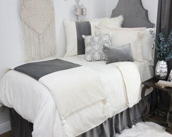 Gray Velvet Dorm Bed Skirt & Headboard Bundle