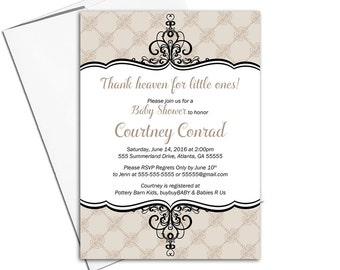 Neutral baby shower invitations | gender neutral shower ideas | taupe baby shower | printable or printed - WLP00751
