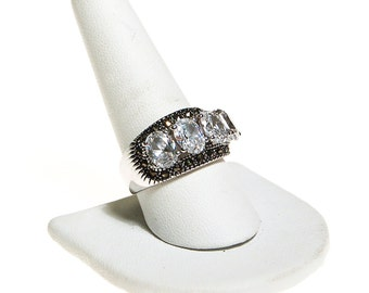 CZ and Marcasite Band Ring, Multi Stone, Anniversary Band, Art Deco Inspired, Wide Band, Ring Size 10, Silver Tone