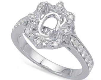 Vintage Style Diamond Setting, 8x6mm Forever One Moissanite (optional), Diamond Halo Engagement Rings for Women, Anniversary Rings for Her