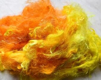 Firestar fibre Trilobal nylon hand dyed spinning felting needle felting fiber arts carding blending fiber Bright Yellow Orange 20 gram 11628