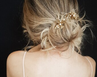 GEMINI   Gold floral wedding hair piece