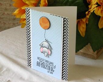 Handmade Greeting Card Elephant Carried by a Balloon