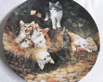 Beautiful collection Plate-cats-Seltmann-Unexpected visit-Wolfgang Kaiser-Vintage CAT/cats collector plate