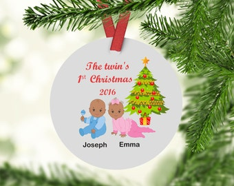 Twins First Christmas Ornament - Baby's First Christmas - Twins