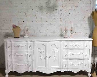 Painted Cottage Chic Shabby French Dresser and Mirror DR941