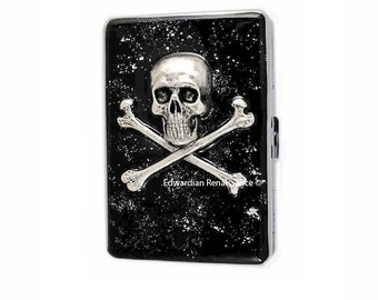 Metal Cigarette Case Silver Skull and Cross Bones Inlaid in Hand Painted Glossy Black Enamel Steampunk Metal Wallet Personalized Options