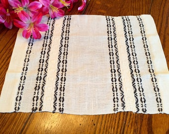 Linen Doily Black and Ivory Striped Doily Placemat Vintage Table Linens