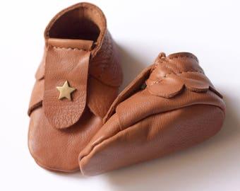 Chaussons bébé en cuir camel tannage végétal Taille Naissance 0 - 1 mois