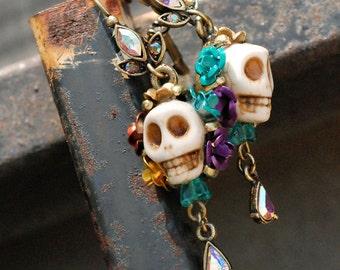 Colorful Sugar Skull Earrings, Dia de los Muertos Earrings, Day of the Dead Earrings, Kitsch Jewelry, Skull Jewelry, Mexican Jewelry E241