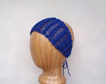 Sheer Knit Headband, Navy Blue Summer Fashion, Tie Back Headwrap Bandana, Hair Tie, Lacy Headband, Cotton, Women Teen Girls