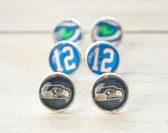 """Seattle Seahawks Stud Earrings - 1/2"""" - navy logo, 12th man, or hawk's eye - Seahawks Jewelry, Seahawks Earrings, stocking stuffer"""
