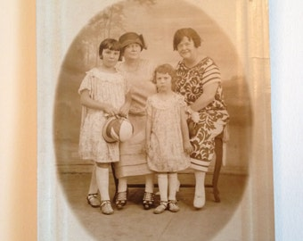 Two Women and  Two Little Girls in Dresses Vintage Photo Postcard