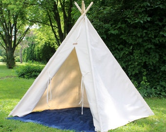Natural Canvas Kids Teepee, Two Sizes Can Include Window, Tee Pee, Childrens Teepee, Play Tent, Kids Tent, Tee Pee, Ships Fully Assembled