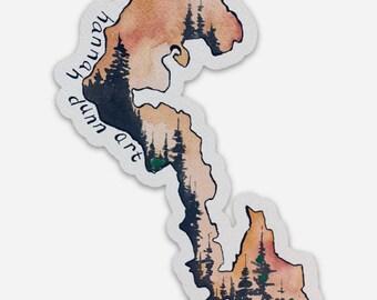 Whidbey Island tree line sticker, die cut, decal, Pacific Northwest, Washington State