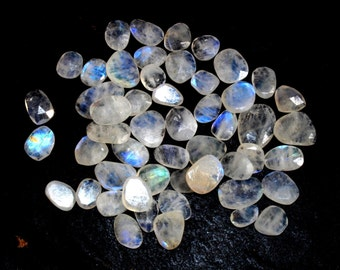 10 Pcs Lot 9-16 mm Natural White Rainbow Irregular Shape faceted Oval loose Gemstone, Irregular Faceted Cabochon IG09