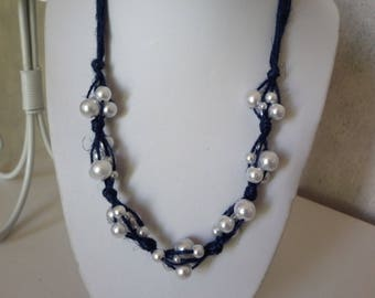 Necklace Navy Blue linen and white pearls whims of various sizes