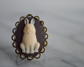 Bunny Cameo Ring, Vintage Inspired, Rabbit, Womens, Adjustable, Jewelry,