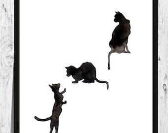 Black cat digital download, black cat art printable, black cat wall decor, black cat illustration, black cat painting, black cat art print