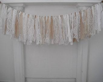 chiffon guirlande dentelle guirlande mariage décor pépinière mur décor cottage shabby chic vintage lacets café teinté vieilli guirlande 46 pouces
