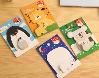 Sticky Notes Memo Pad Labels  Bookmark Cute Stationary Paper   School Office Supplies   Removable Adhesive Animal Korean Post-It M07